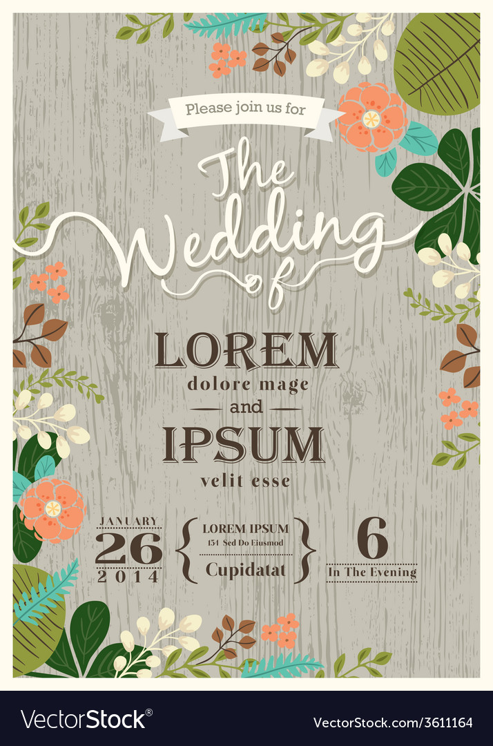 Vintage wedding invitation card floral background vector | Price: 1 Credit (USD $1)