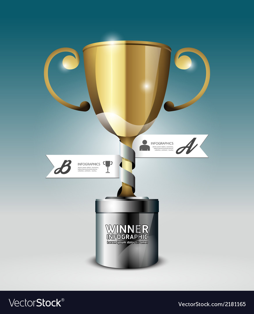 Abstract 3d winner trophy infographic design vector | Price: 1 Credit (USD $1)