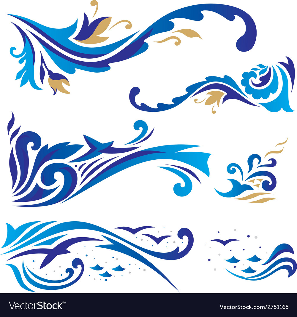 Arabic ornaments with waves vector | Price: 1 Credit (USD $1)