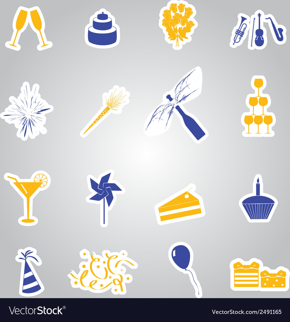 Celebration and party stickers set eps10 vector | Price: 1 Credit (USD $1)