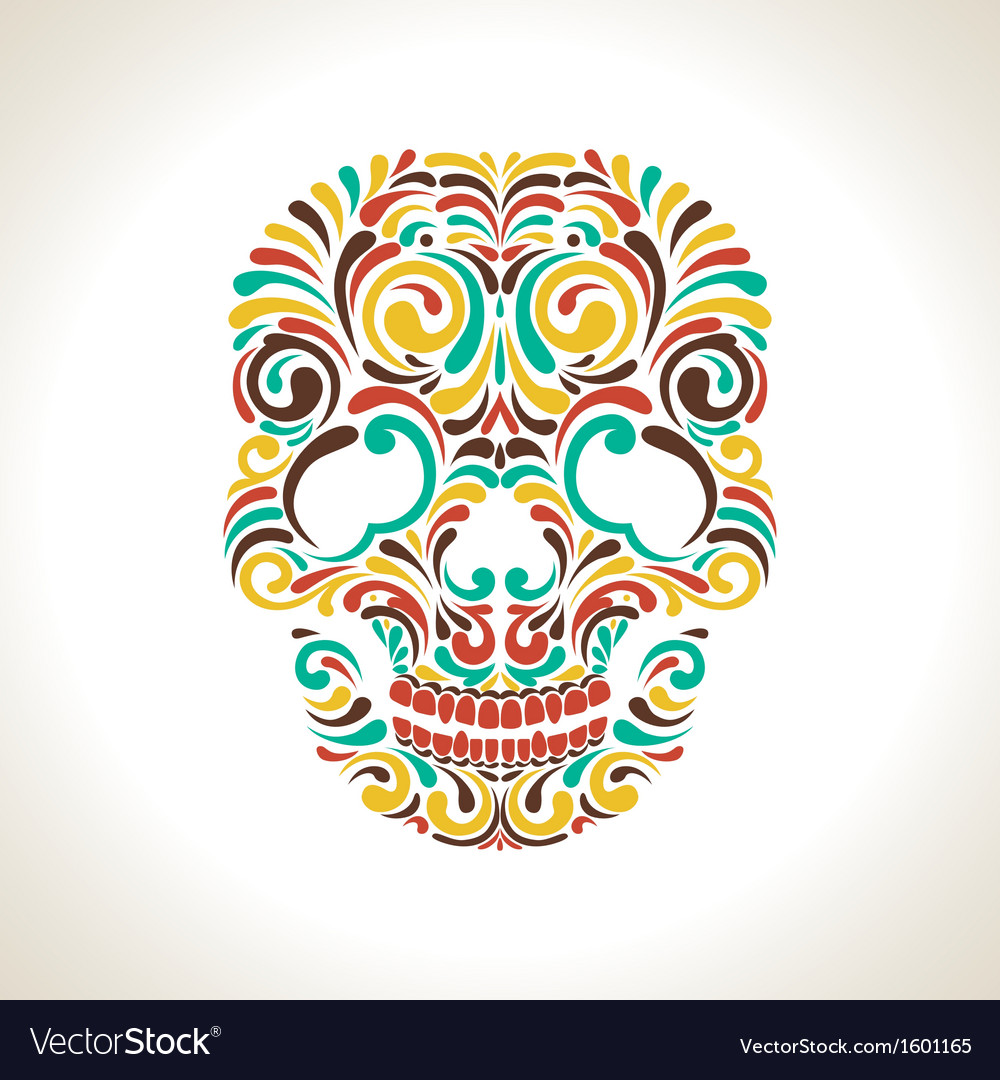 Colorful ornate skull vector | Price: 1 Credit (USD $1)