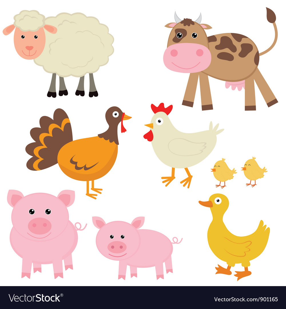 Cute farm animals vector