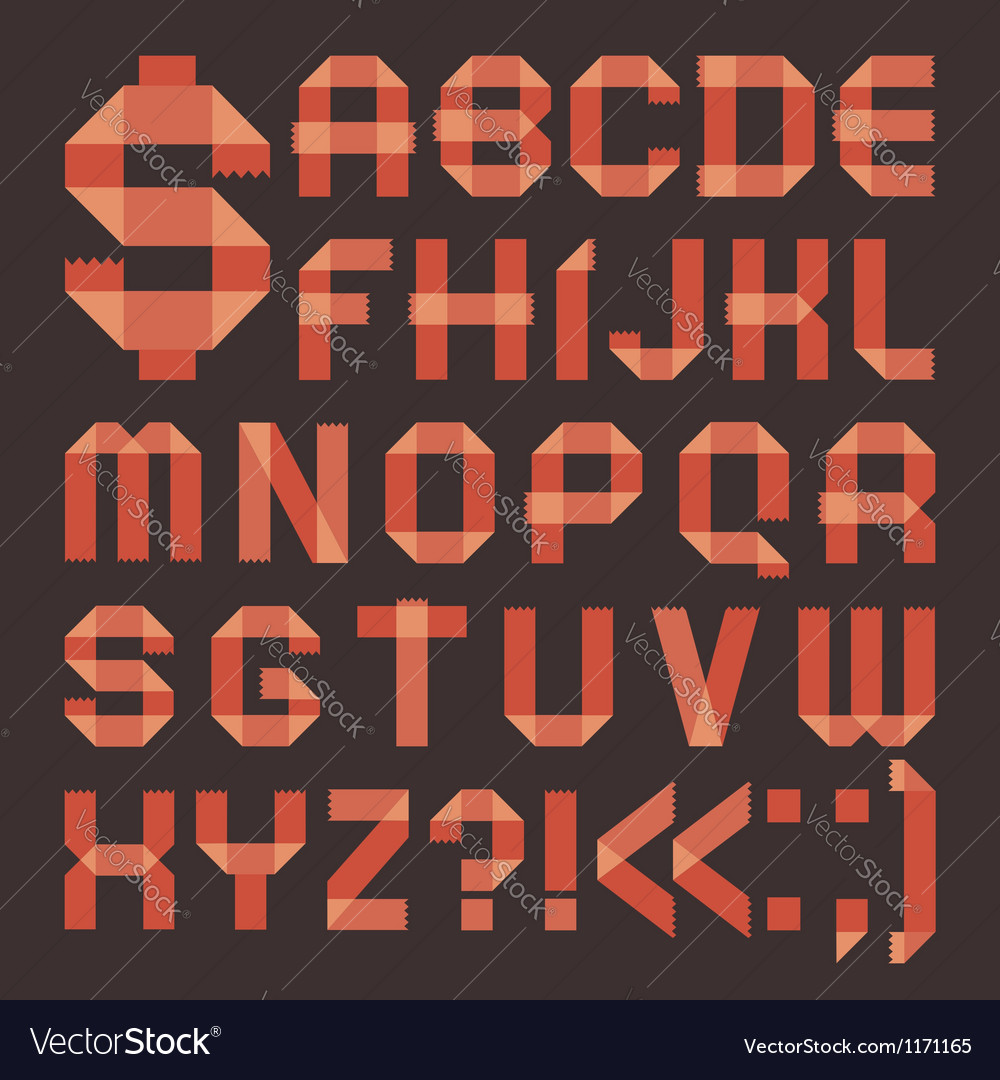 Font from reddish scotch tape - roman alphabet vector | Price: 1 Credit (USD $1)