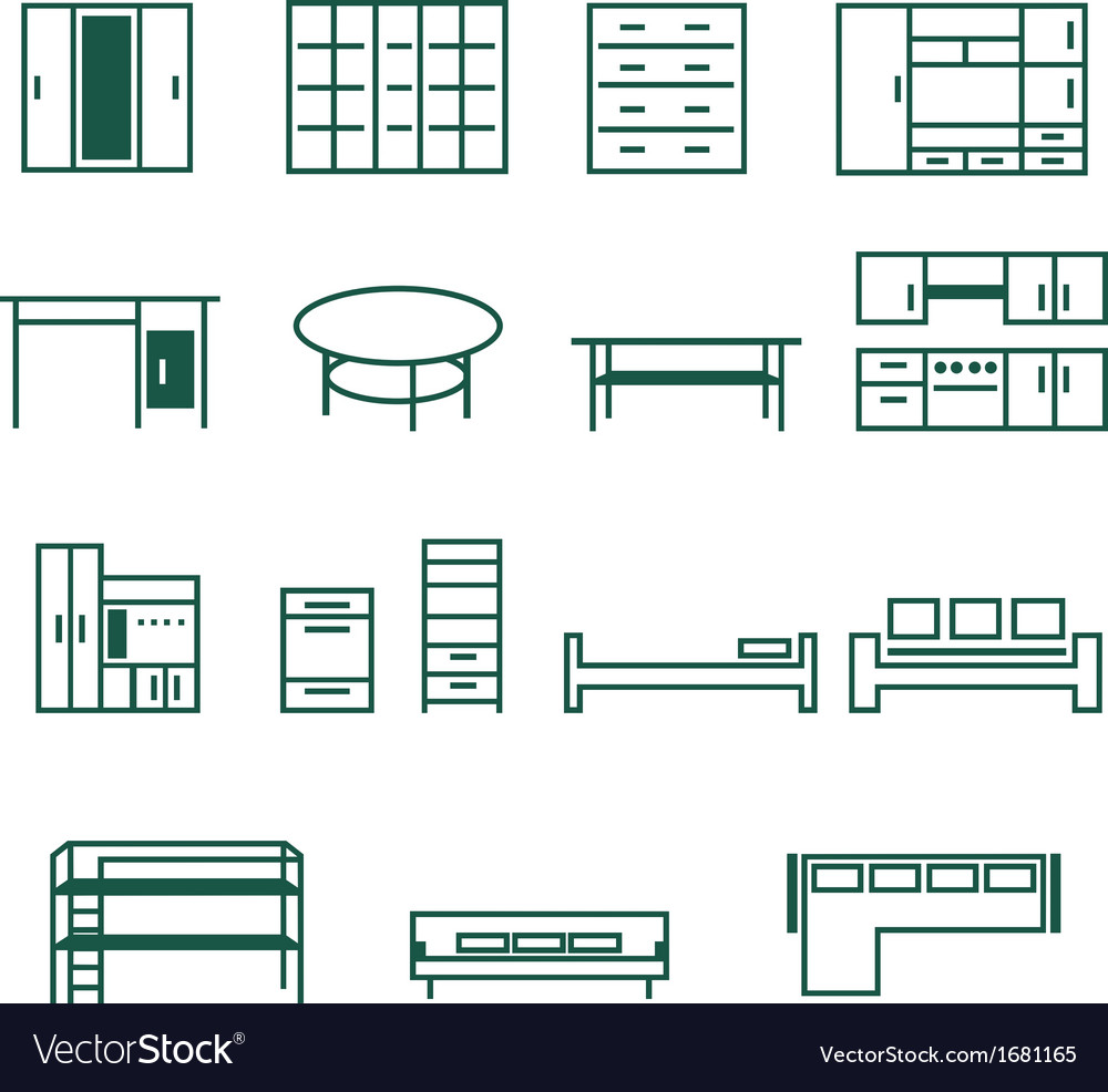 Furniture for home and office icon set vector | Price: 1 Credit (USD $1)
