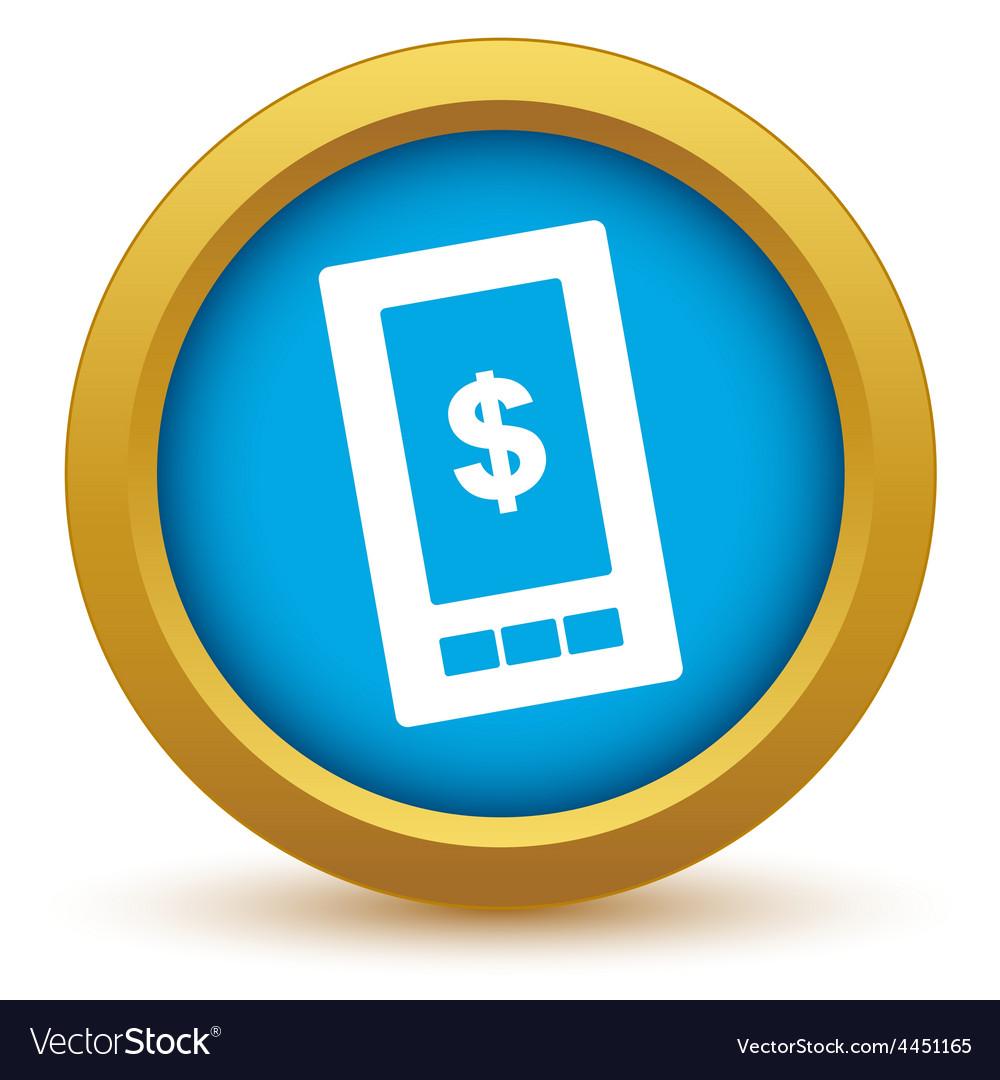 Gold dollar phone icon vector | Price: 1 Credit (USD $1)