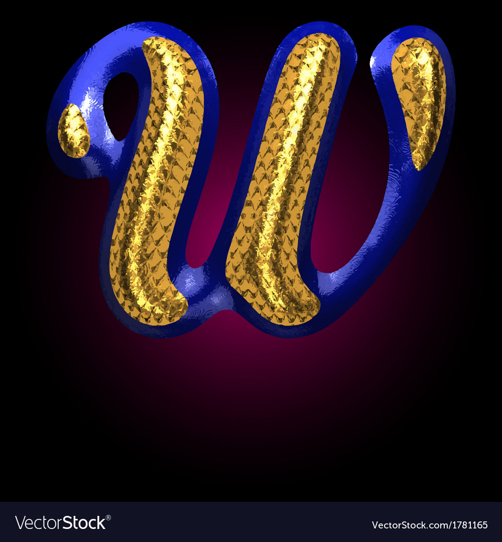 Golden and blue letter w vector | Price: 1 Credit (USD $1)