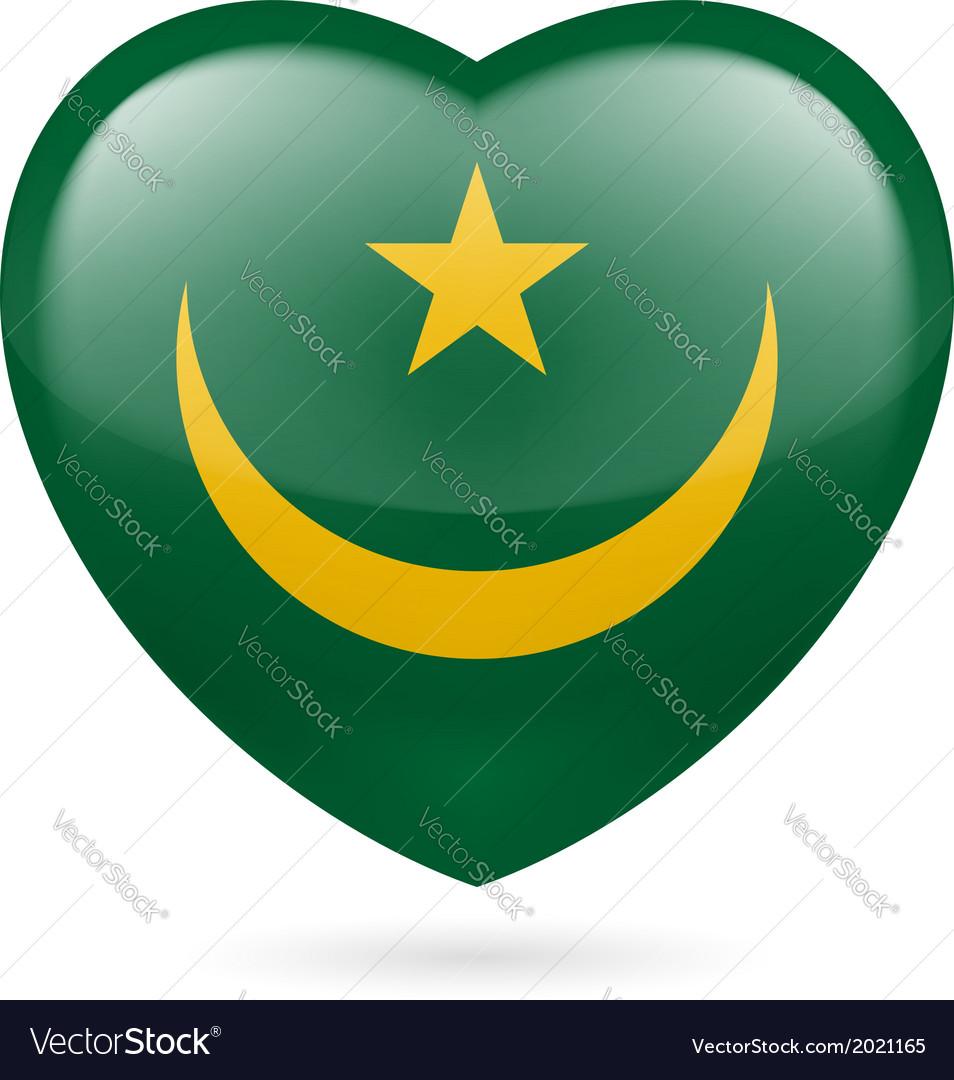 Heart icon of mauritania vector | Price: 1 Credit (USD $1)