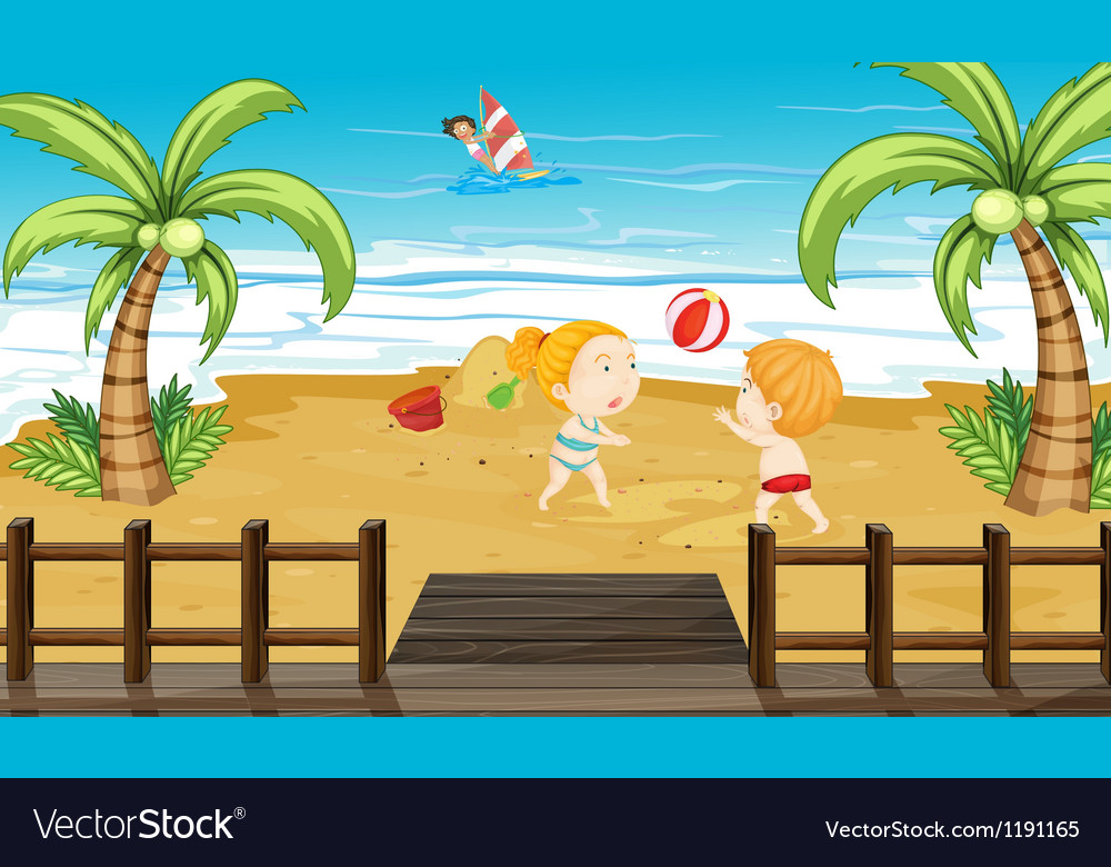 Kids at the beach vector | Price: 1 Credit (USD $1)