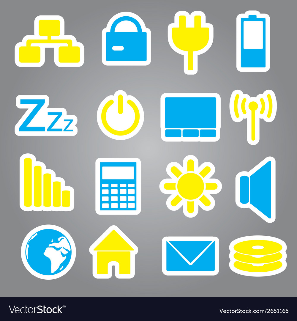Laptop and pc indication stickers eps10 vector | Price: 1 Credit (USD $1)