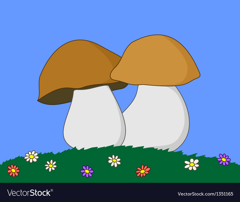 Mushrooms in a grass vector | Price: 1 Credit (USD $1)
