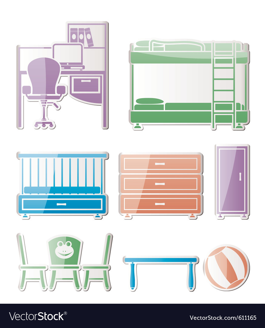 Nursery and room furniture vector | Price: 1 Credit (USD $1)