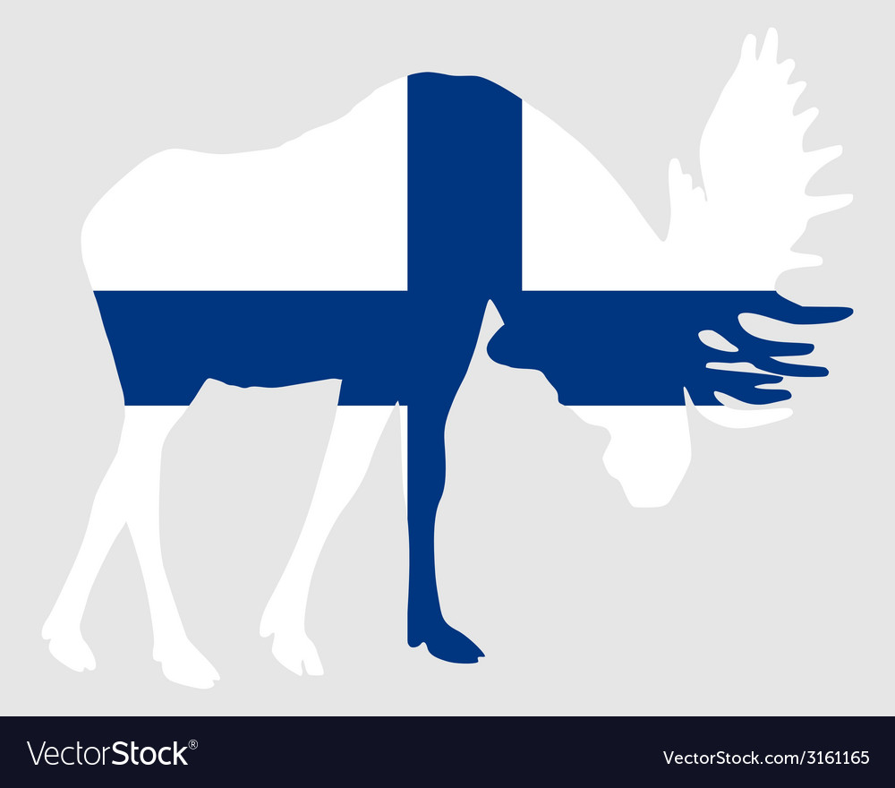 Rutting moose in finnish flag vector | Price: 1 Credit (USD $1)