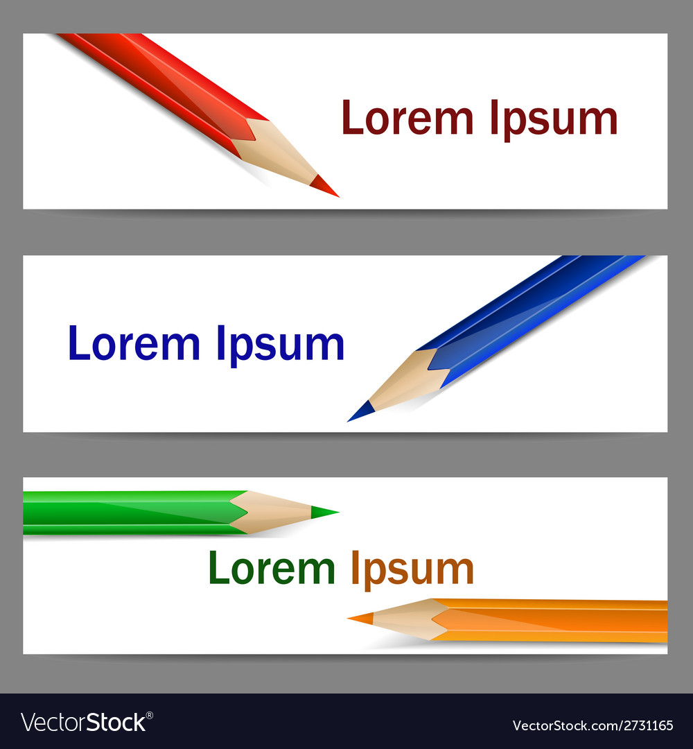 Set of banners with color pencils vector | Price: 1 Credit (USD $1)