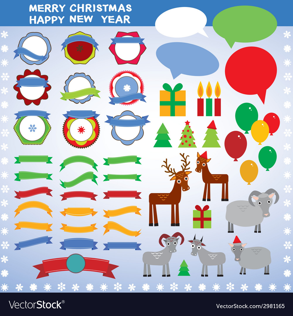 Set of vintage elements new year merry christmas vector | Price: 1 Credit (USD $1)