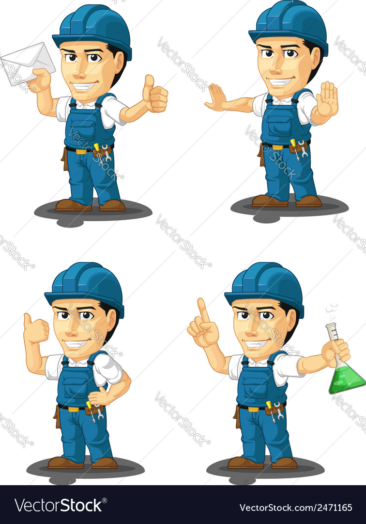 Technician or repairman mascot 4 vector | Price: 1 Credit (USD $1)