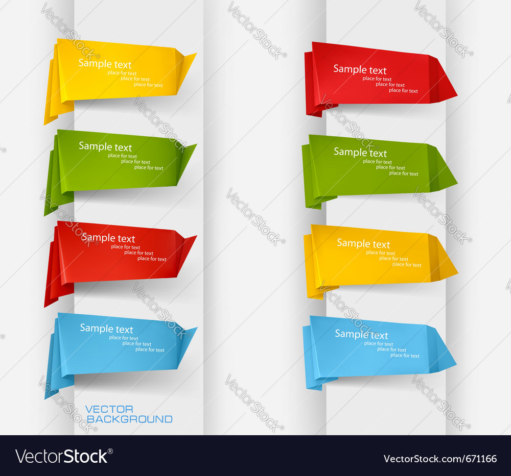 Big collection of colorful origami paper banners a vector | Price: 1 Credit (USD $1)