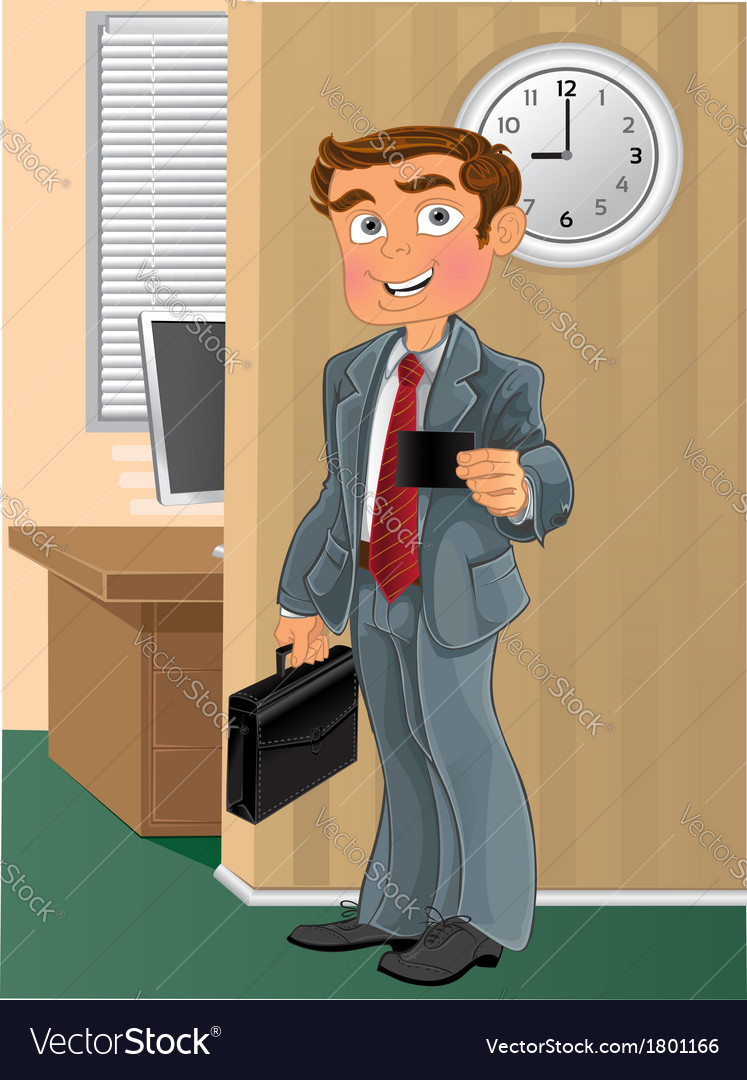 Businessman with business card in office vector | Price: 3 Credit (USD $3)