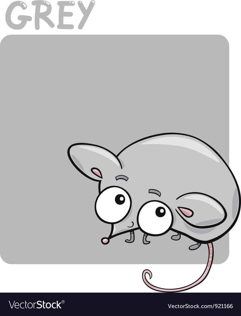 Color grey and mouse cartoon vector | Price: 1 Credit (USD $1)