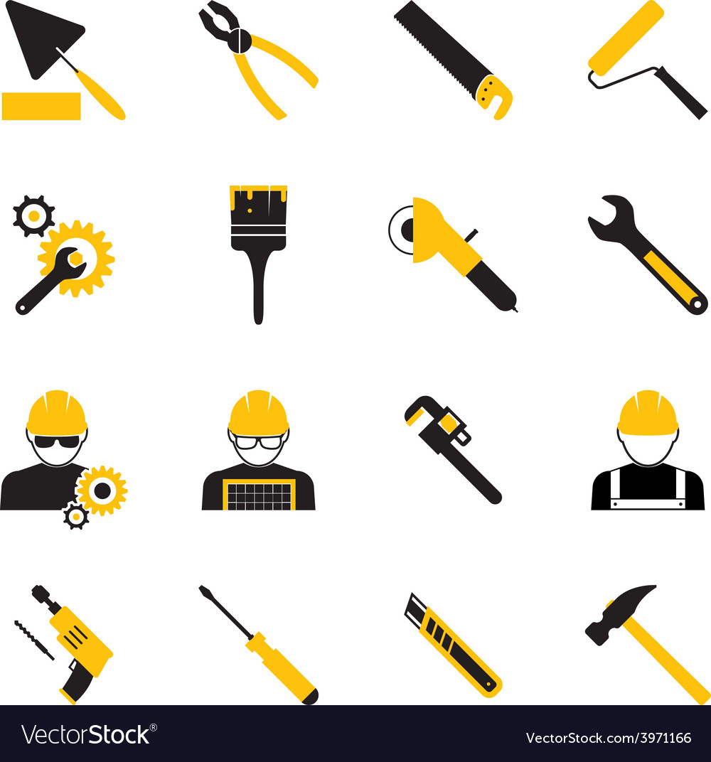 Construction workers and tools icons vector | Price: 1 Credit (USD $1)