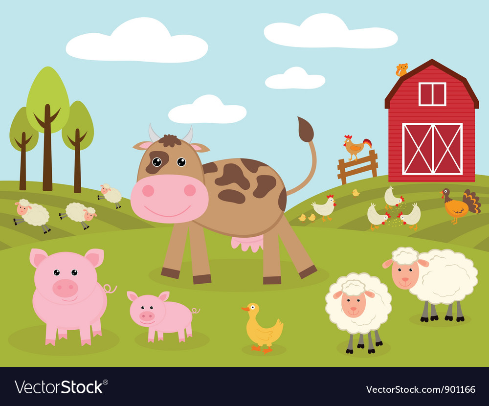 Cute little farm vector | Price: 1 Credit (USD $1)