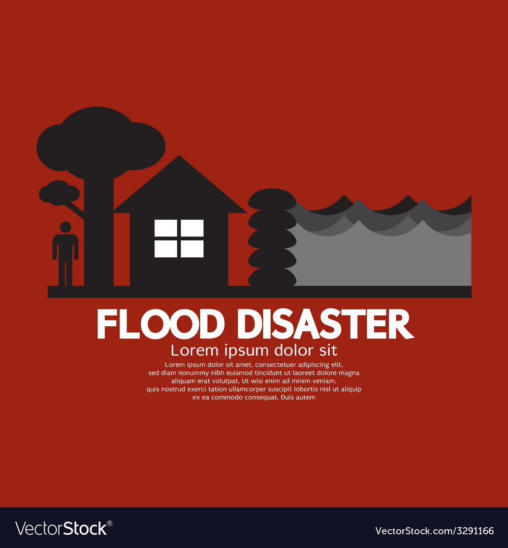 Flood disaster with sandbag barrier vector | Price: 1 Credit (USD $1)