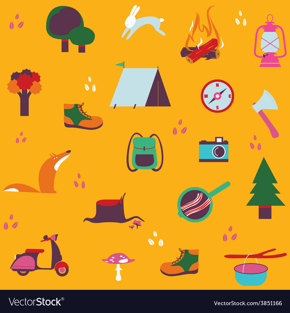 Forest camping seamless design vector | Price: 1 Credit (USD $1)