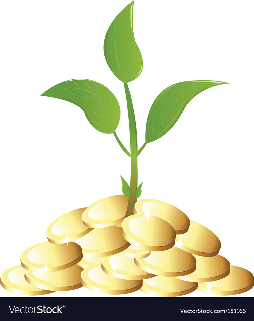 Green young plant with money vector | Price: 1 Credit (USD $1)
