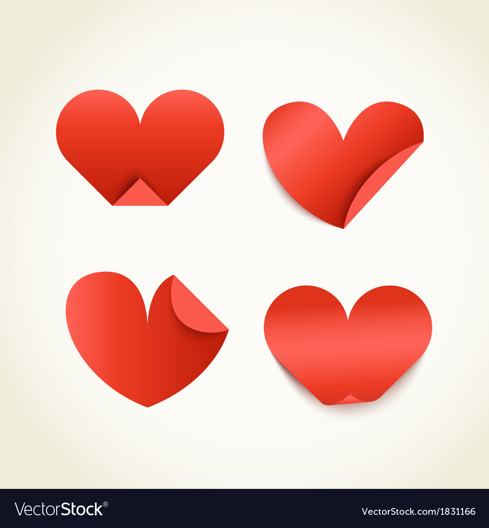 Group of red paper hearts happy valentines day vector | Price: 1 Credit (USD $1)