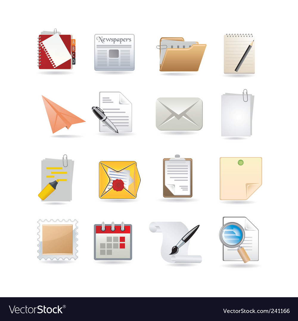 Paper icon set vector | Price: 3 Credit (USD $3)