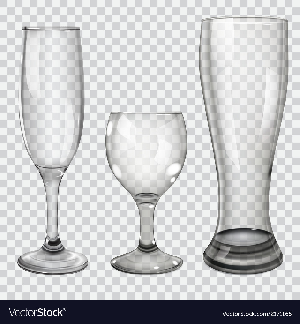Set of transparent glass goblets vector | Price: 1 Credit (USD $1)