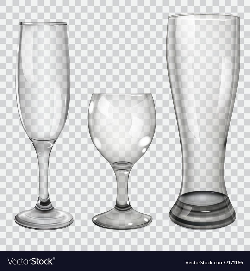Set of transparent glass goblets vector | Price: 1 Credit (USD $1)