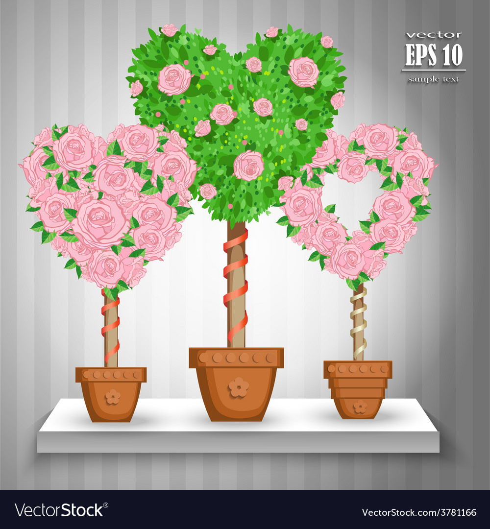 Set of trees with roses and hearts in pots vector | Price: 3 Credit (USD $3)