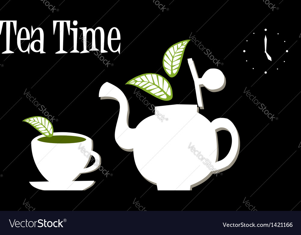 Tea time teapot and cup of tea vector   Price: 1 Credit (USD $1)