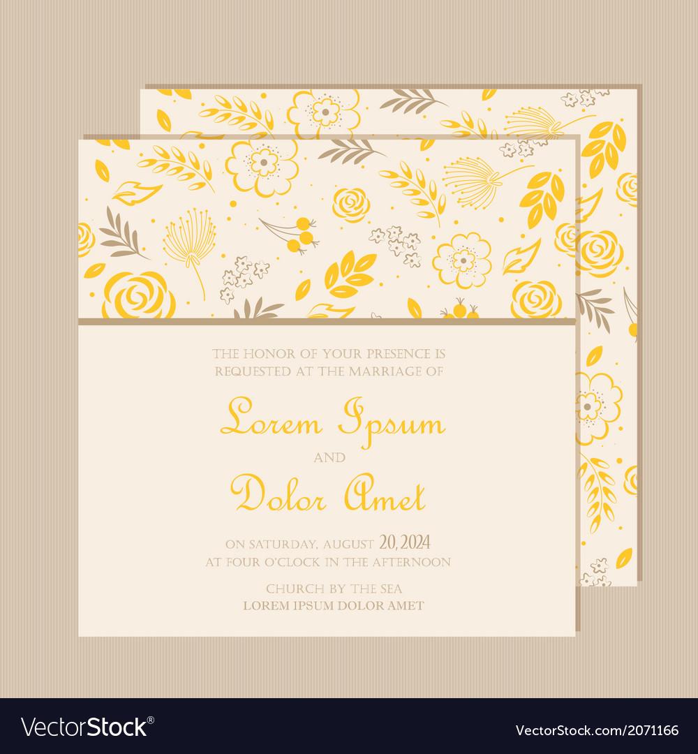 Wedding invitation card yellow vector | Price: 1 Credit (USD $1)