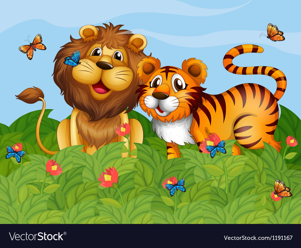 A lion tiger and butterflies in the garden vector | Price: 1 Credit (USD $1)