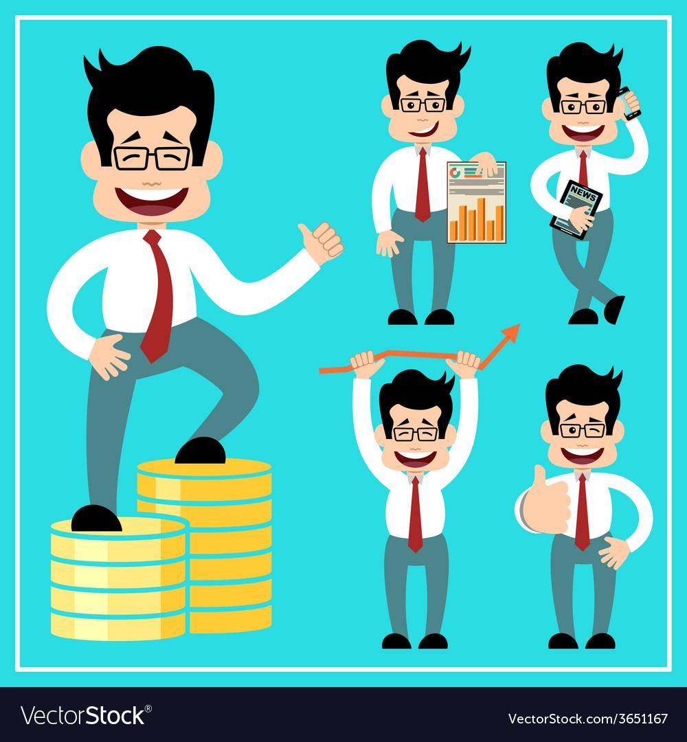Cartoon businessman in style of flat design vector   Price: 1 Credit (USD $1)