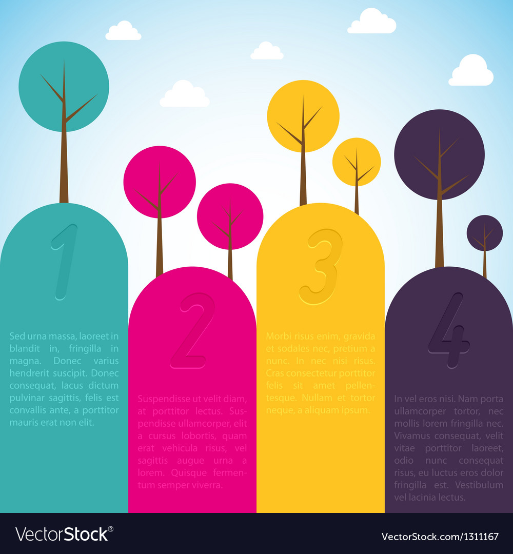 Cmyk banners with trees vector | Price: 1 Credit (USD $1)