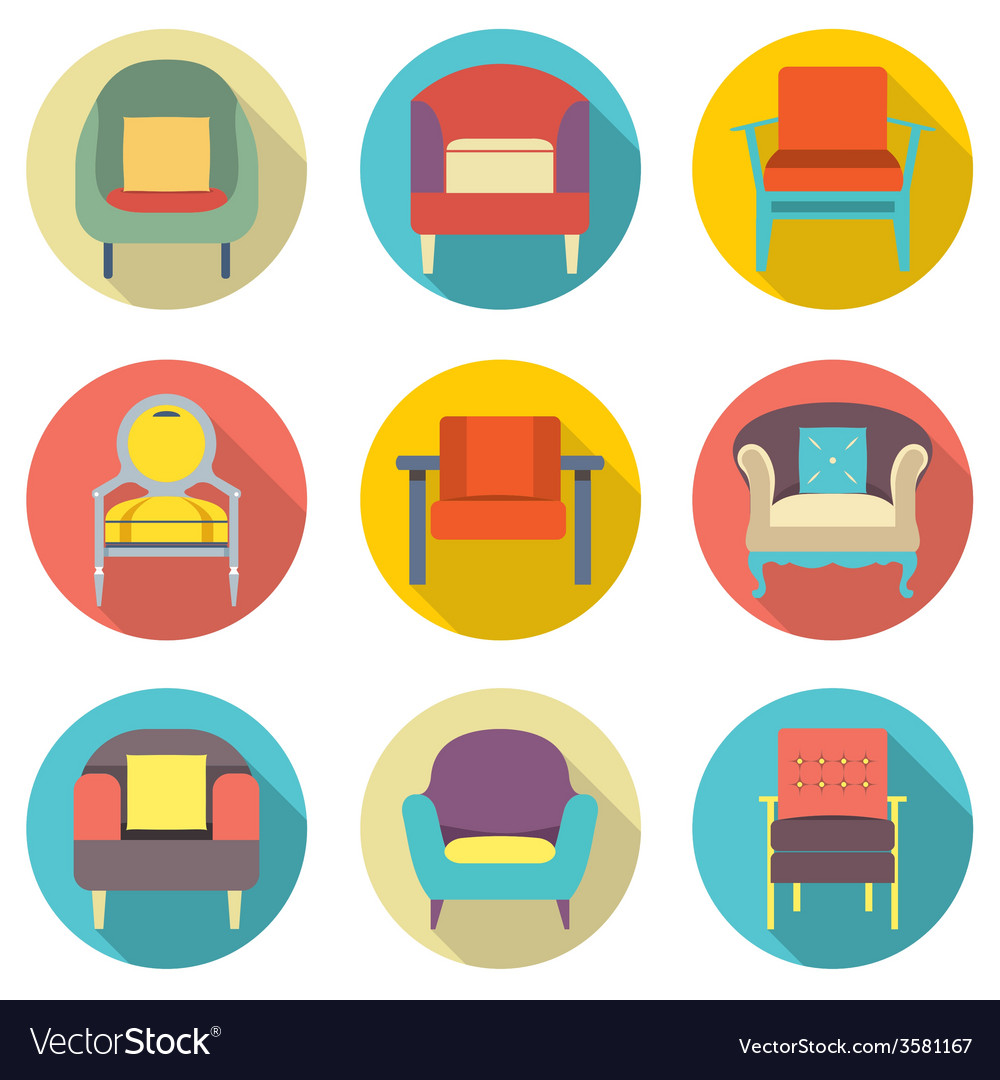 Flat design long shadow effect sofa icons set vector | Price: 1 Credit (USD $1)
