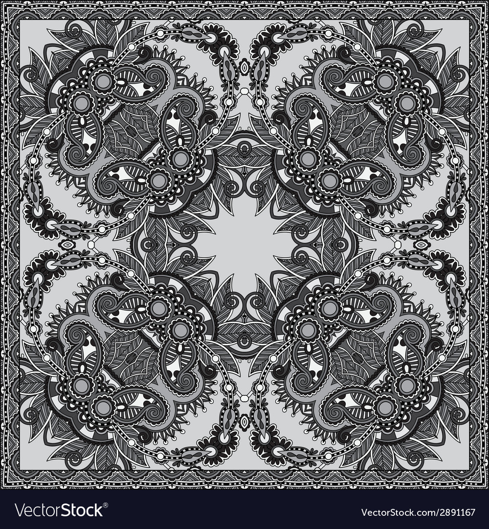 Grey ornamental floral paisley bandanna vector | Price: 1 Credit (USD $1)