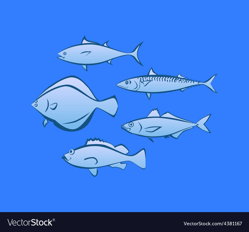Icons of sea fish vector | Price: 1 Credit (USD $1)