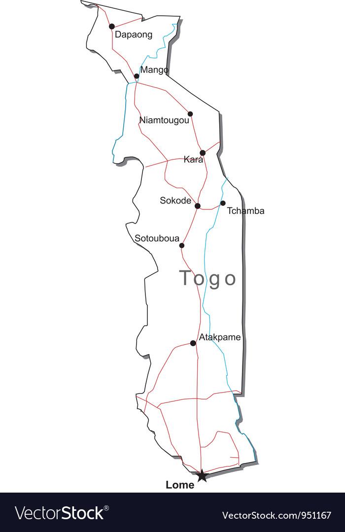 Togo black white map vector   Price: 1 Credit (USD $1)