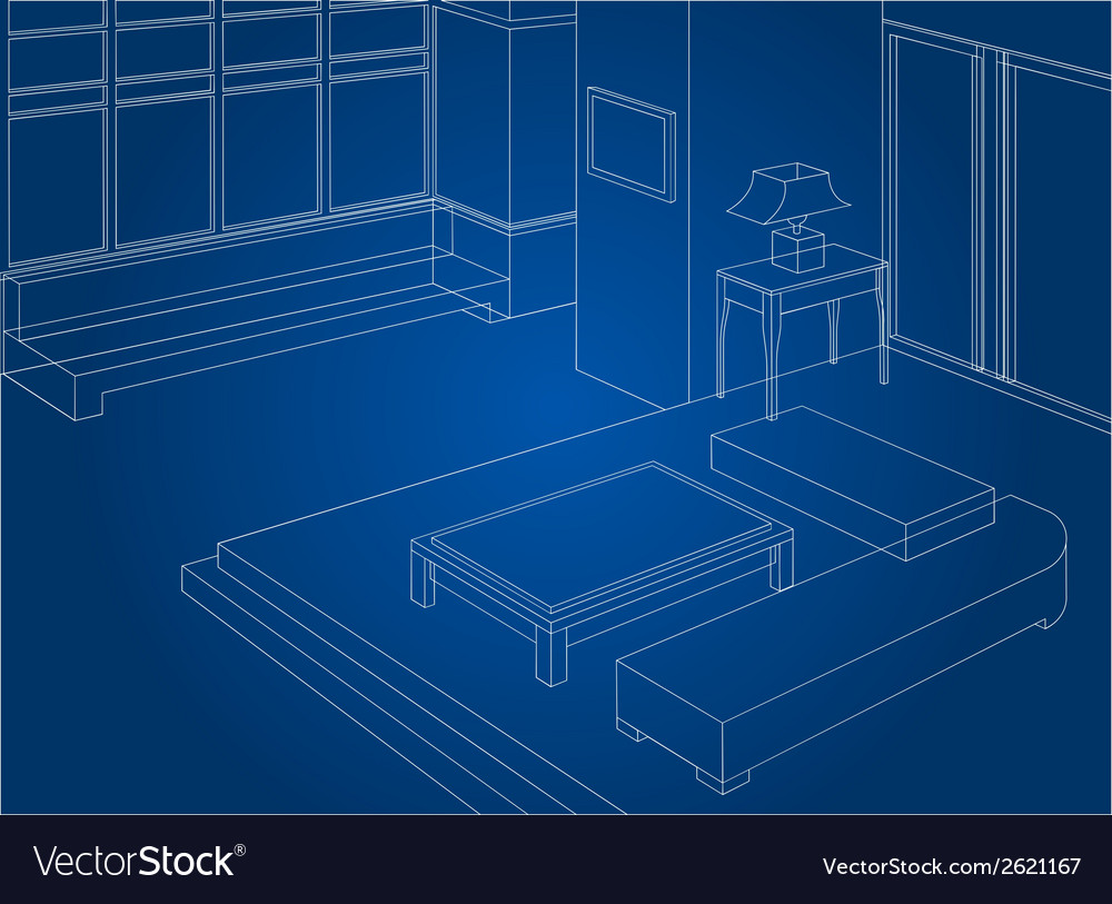 Wireframe living room scene vector | Price: 1 Credit (USD $1)