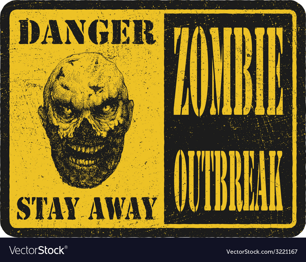 Zombie warning sign hand drawn eps8 vector | Price: 3 Credit (USD $3)