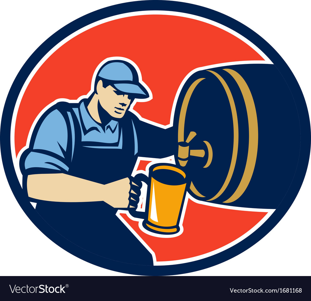 Brewer bartender pour beer pitcher barrel retro vector | Price: 1 Credit (USD $1)