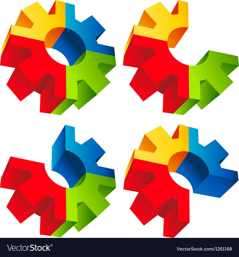 Colorful 3d gear icons vector | Price: 1 Credit (USD $1)