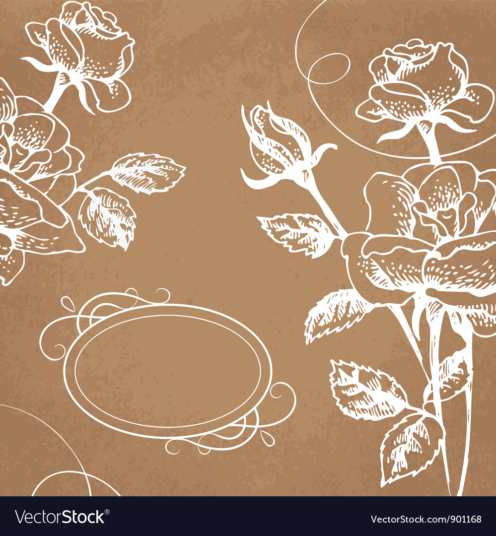 Floral background with roses and frame vector | Price: 1 Credit (USD $1)