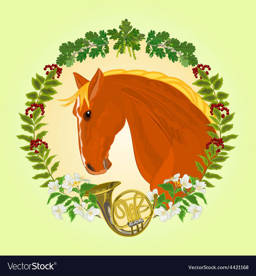 The head red horse leaves and french horn vector | Price: 1 Credit (USD $1)