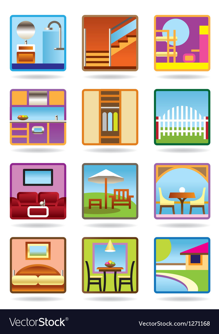 Home and gerden furniture icon set vector | Price: 3 Credit (USD $3)