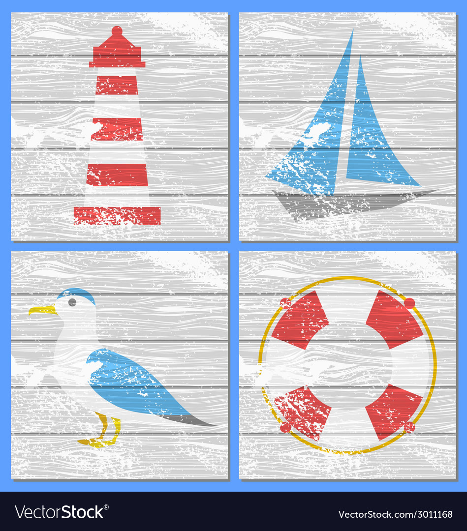 Lighthouse yacht seagulls and lifebuoy vector | Price: 1 Credit (USD $1)