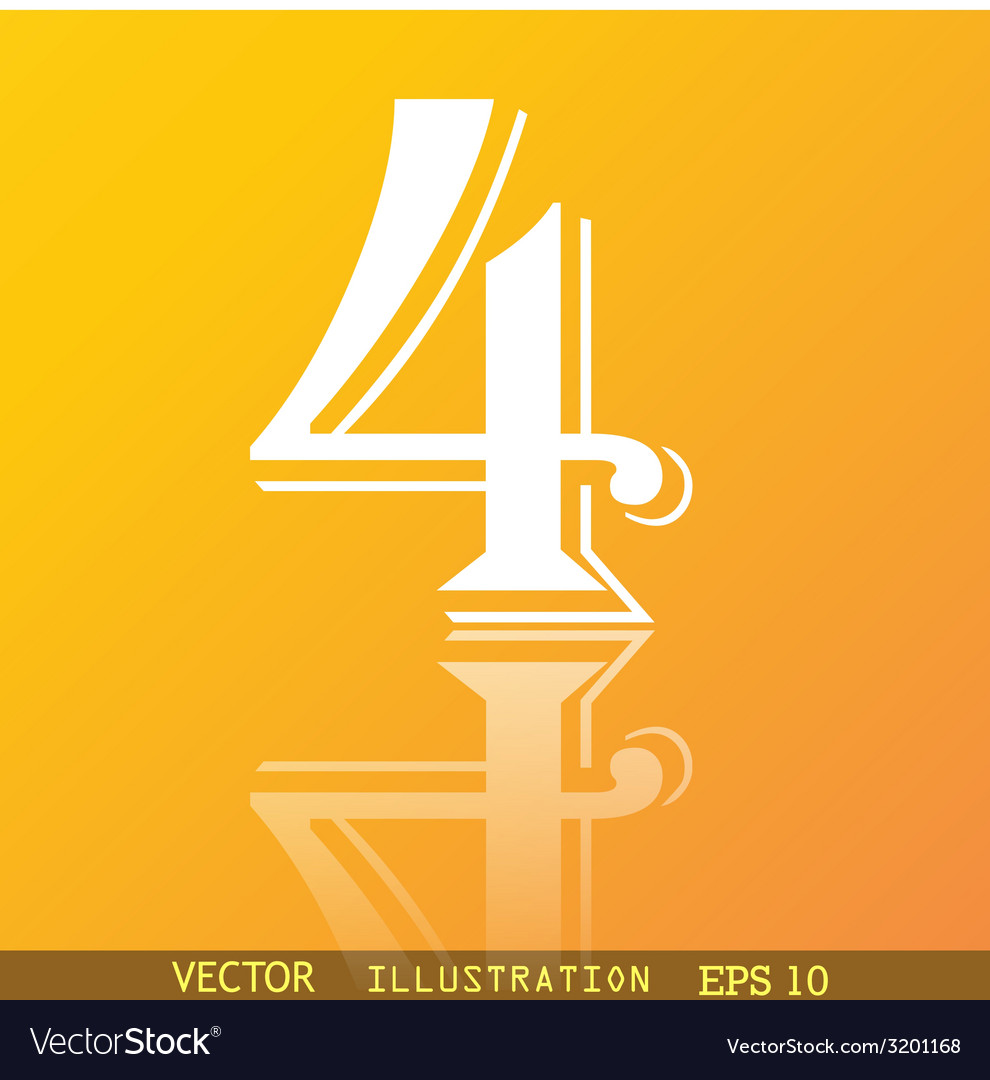 Number four icon symbol flat modern web design vector | Price: 1 Credit (USD $1)